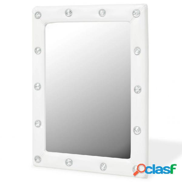 Espejo de pared de cuero artificial blanco brillante 40x50cm vida xl
