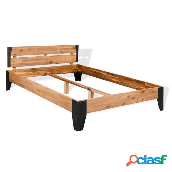 Estructura de cama demaderamaciza de acacia y acero 140x200cm vida xl