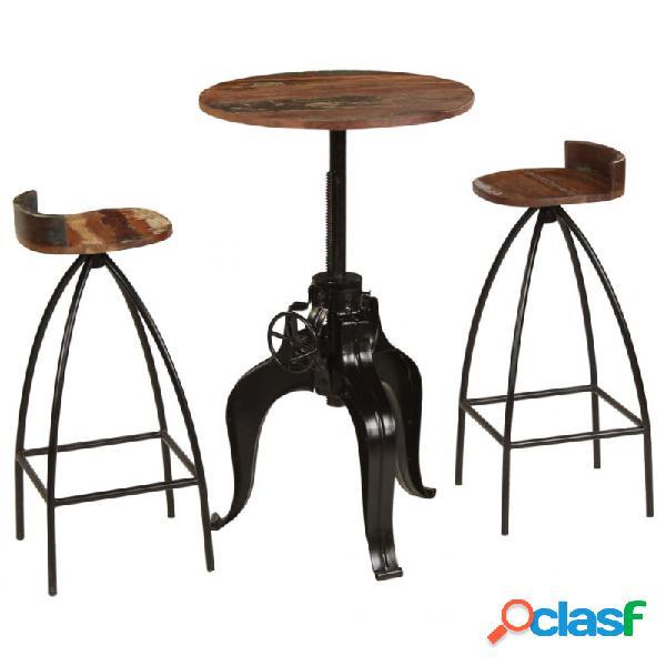 Conjunto de muebles de bar 3 piezas madera maciza reciclada vida xl
