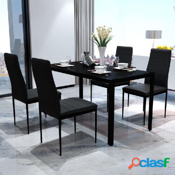Conjunto deesa y sillas de comedor 5 piezas negro vida xl