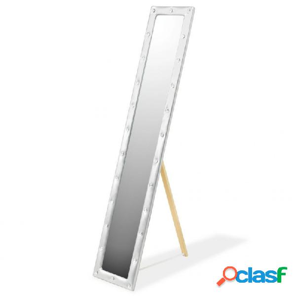 Espejo de pie de cuero artificial 30x150cm plateado brillante vida xl