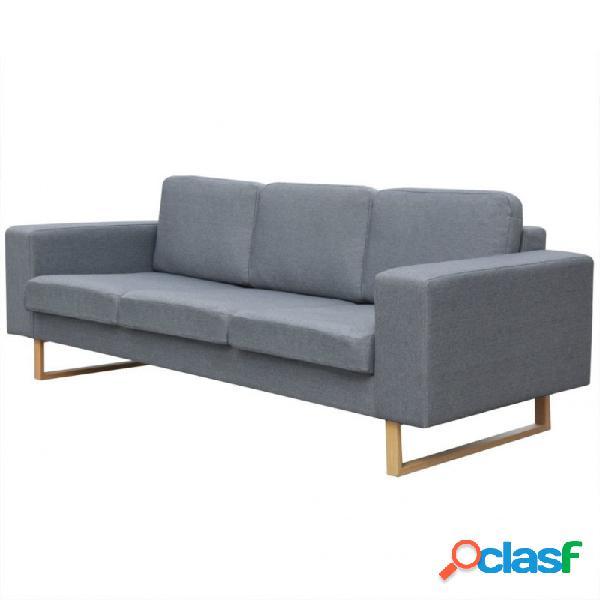 Sofá de 3 plazas tela gris claro vida xl