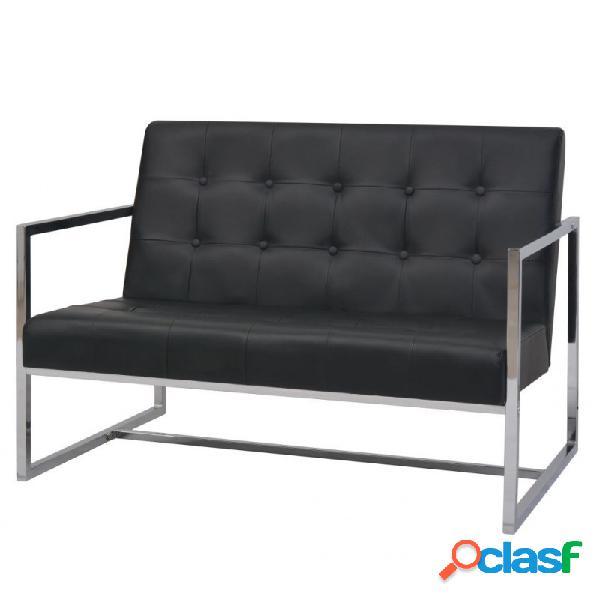Sofá 2 plazas con reposabrazos cuero artificial y acero negro vida xl