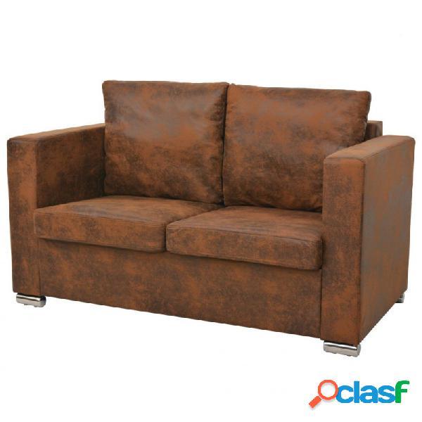 Sofa de 2 plazas 137x73x82cm piel de ante artificial vida xl