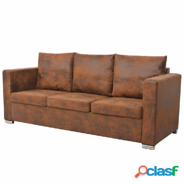 Sofa de 3 plazas 191x73x82cm piel de ante artificial vida xl