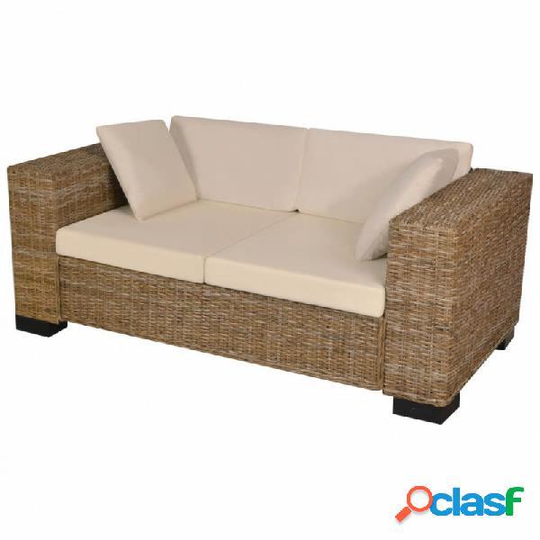 Conjunto de sofá de dos plazas 7 piezas ratán real vida xl