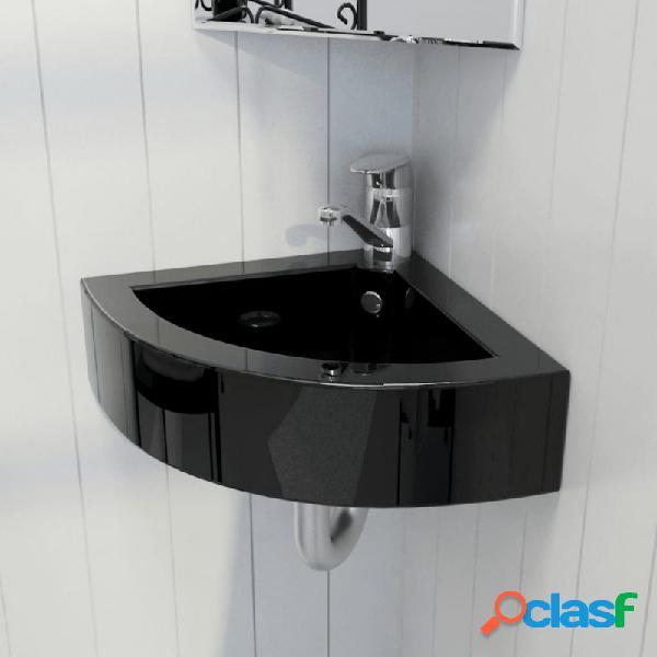 Lavabo con rebosadero 45x32x12,5cm negro vida xl