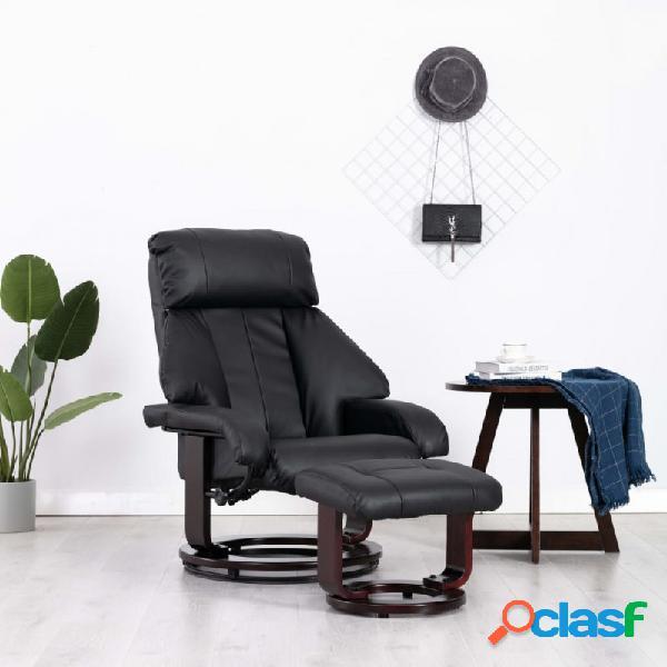 Sillón reclinable para tv con reposapiés cuero sintético negro vida xl