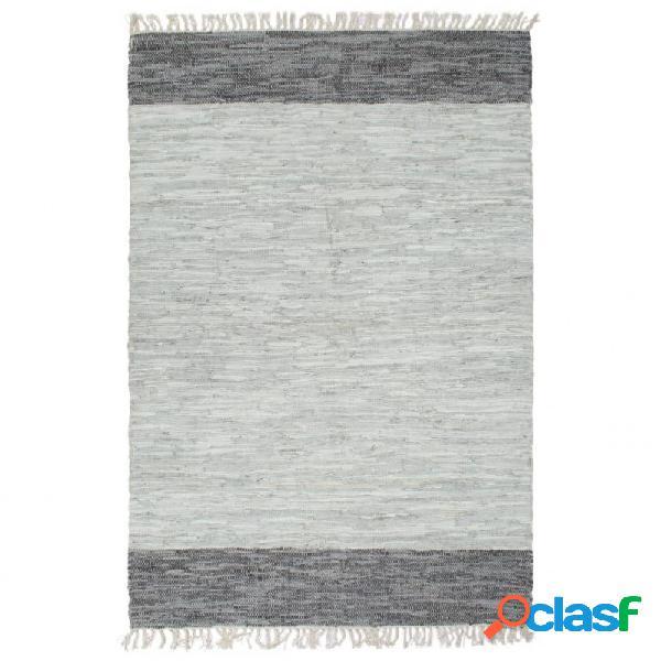 Alfombra chindi tejida amano cuero 190x280cm gris vida xl