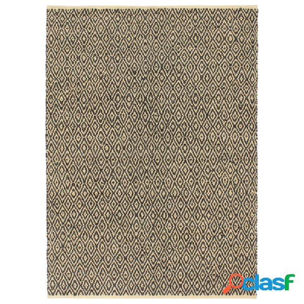 Alfombra chindi tejida amano cuero y algodón 160x230cm negro vida xl