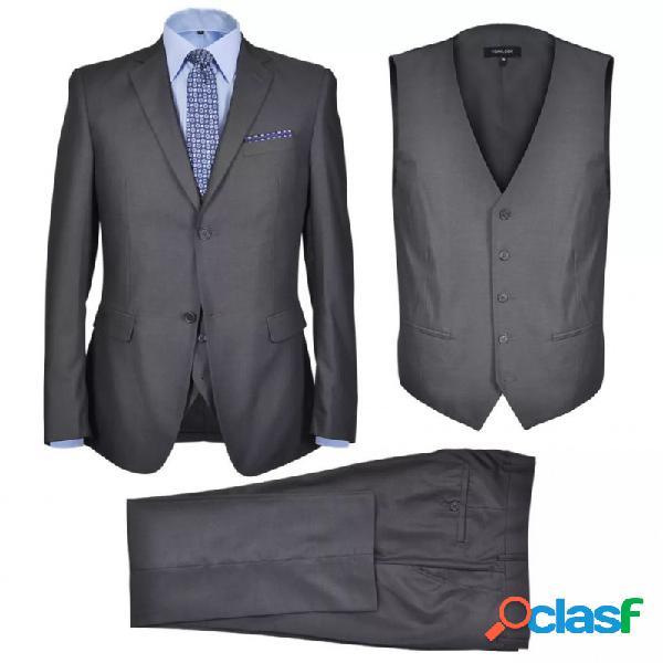 Traje de chaqueta de hombre 3 piezas talla 56 gris antracita vida xl