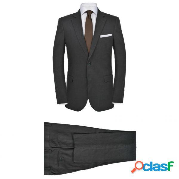 Traje de chaqueta de hombre lino 2 piezas talla 48 gris oscuro vida xl
