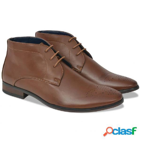 Zapatos botines de hombre de cordones marrón t 42 cuero pu vida xl
