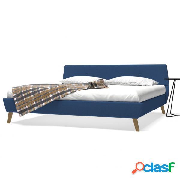 Cama con colchón viscoelástico tela azul 180x200cm vida xl
