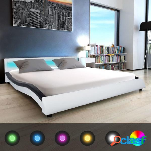 Cama con colchón y led cuero sintético blanco negro 180x200cm vida xl