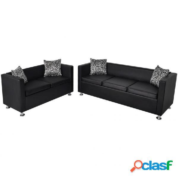 Conjunto de sofás de 2 y 3 plazas de cuero artificial negro vida xl