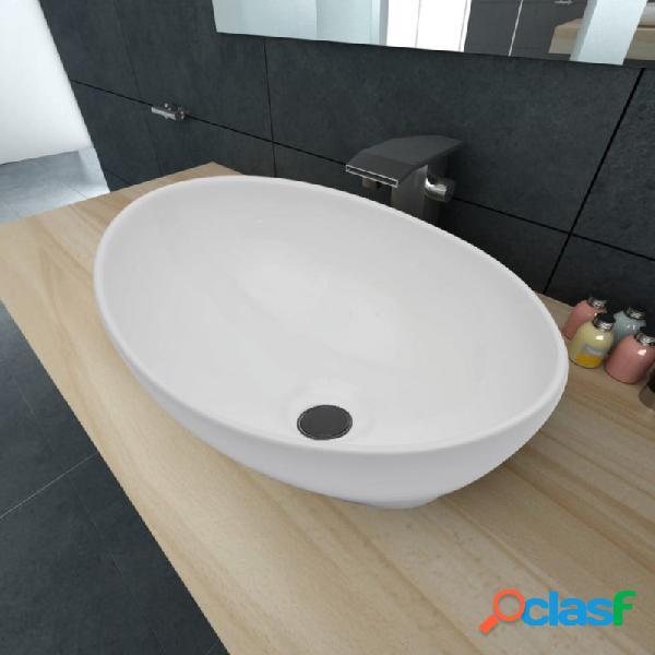 Lavabo ovalado de cerámica blanco 40x33cm vida xl