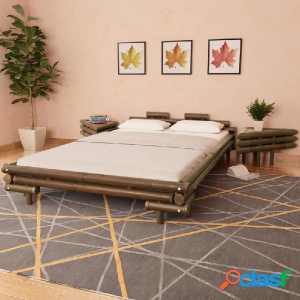 Cama con 2 mesitas de noche bambú marrón oscuro 140x200 cm Vida XL