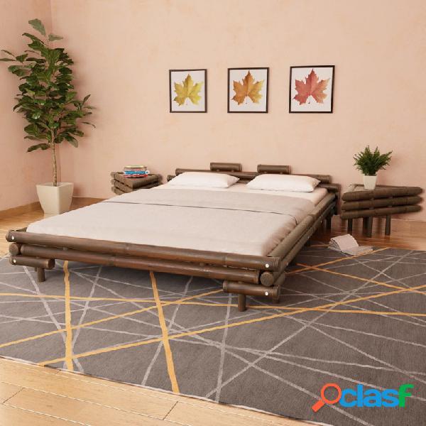 Cama con 2 mesitas de noche bambú marrón oscuro 160x200cm vida xl