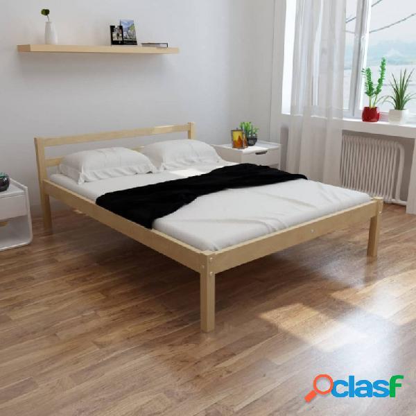 Cama con colchón de madera de pino maciza 140x200cm vida xl