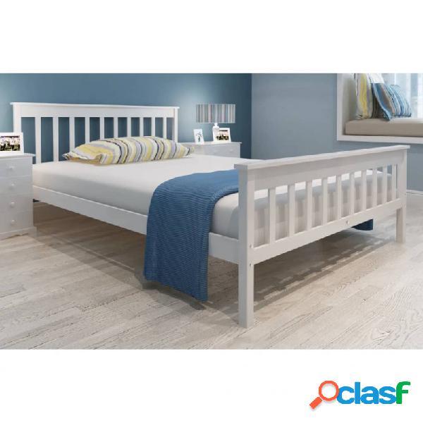 Cama con colchón de madera de pino maciza blanca 140x200cm vida xl