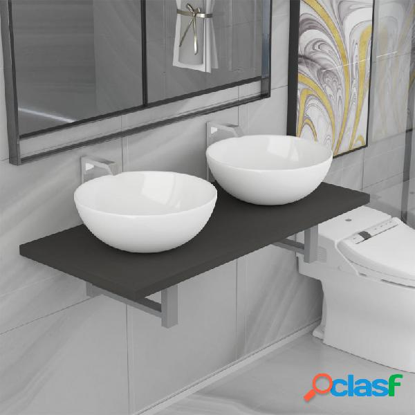 Conjunto de muebles de baño de tres piezas cerámica gris vida xl