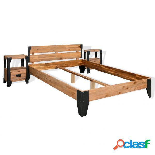 Estructura de cama y 2 mesitas de noche acacia+acero 180x200cm vida xl