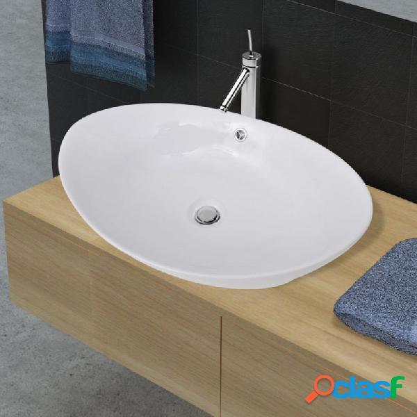 Lavabo ovalado y orificio desbordamiento cerámica 59x38,5cm vida xl
