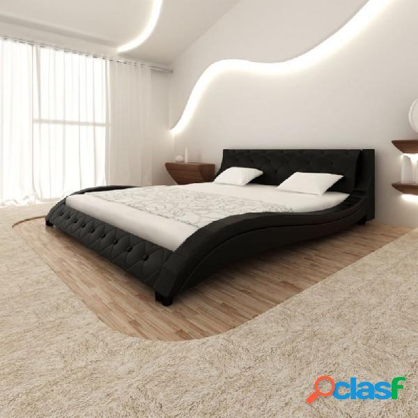 Cama de cuero sintético negro con colchón 140x200cm vida xl