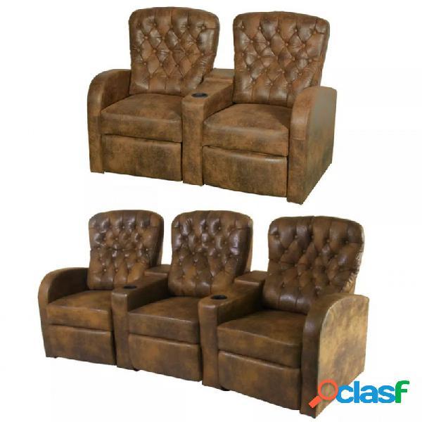 Sofás reclinables 2+3 plazas cuero artificial marrón vida xl
