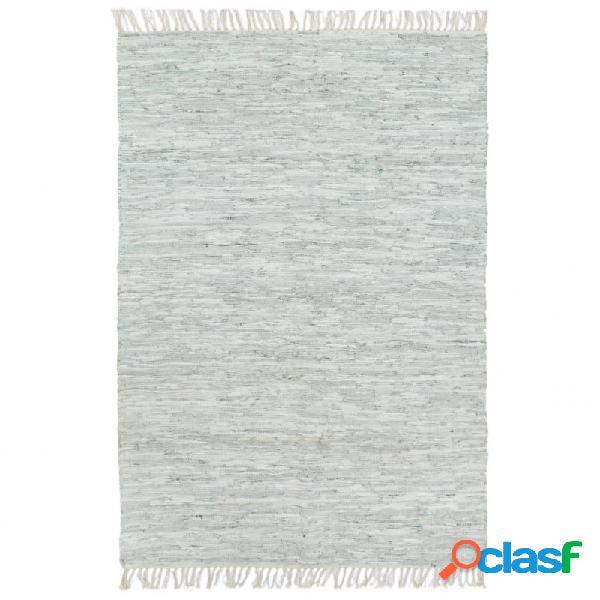 Alfombra chindi tejida amano cuero 80x160cm gris claro vida xl