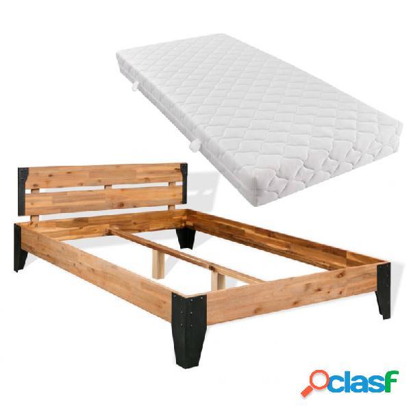 Cama con colchón de madera maciza de acacia 140x200cm vida xl
