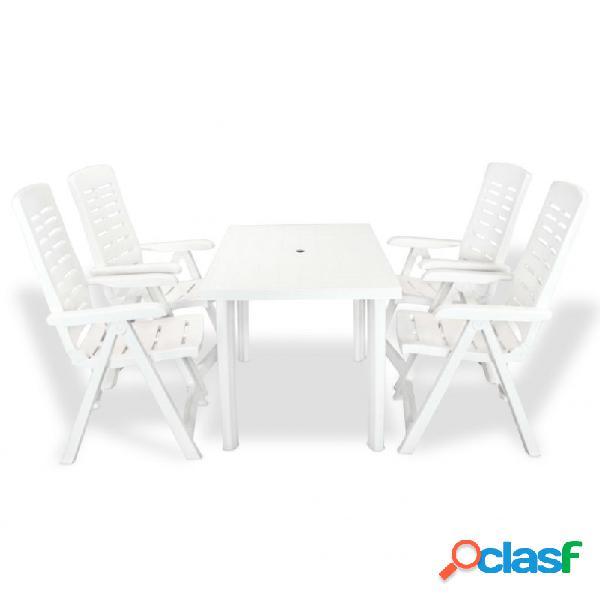 Juego de comedor de jardín 5 piezas plástico blanco vida xl