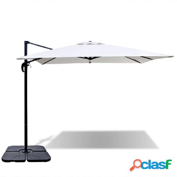 Sombrilla roma con base portátil 2,5x2,5m aluminio blanco arena vida xl