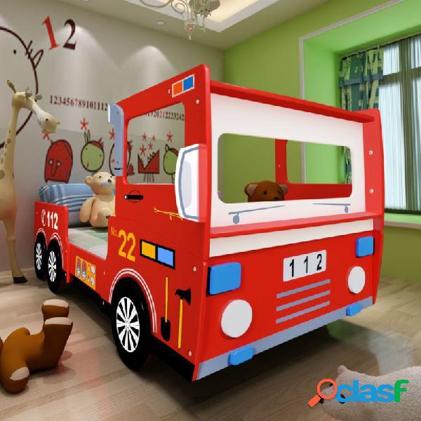 Cama para niños camión de bomberos 200x90cm rojo vida xl