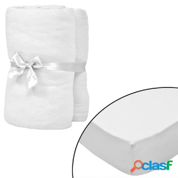 Sábana bajera ajustable de cuna 4 pzas algodón 60x120 blanco vida xl