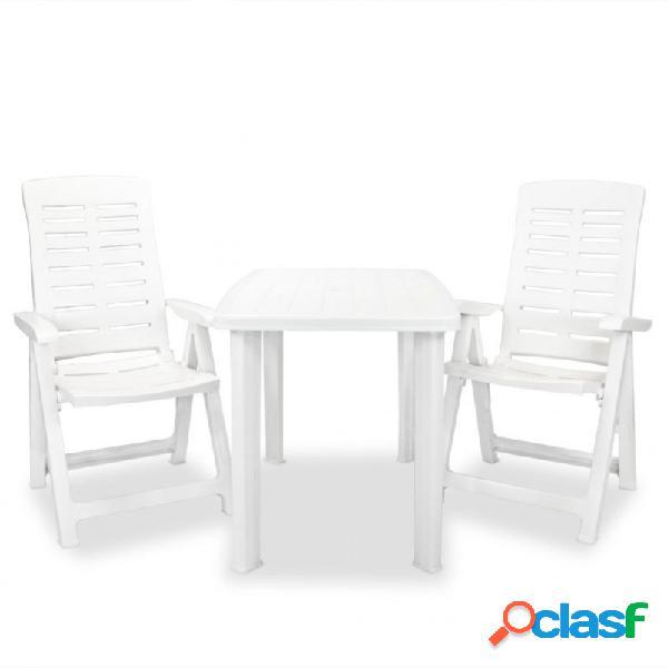 Set de mesa y sillas bistró de jardín 3 piezas plástico blanco vida xl