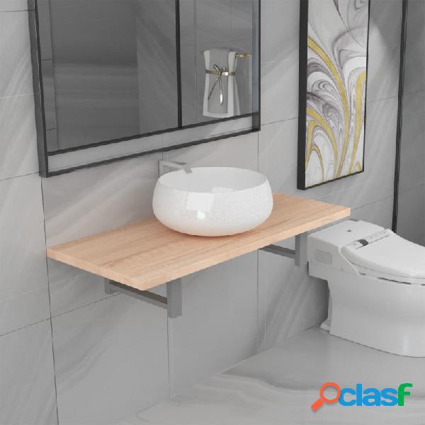 Conjunto de muebles de baño 2 piezas cerámica roble vida xl