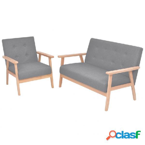 Set de sofás de 2 piezas de tela gris claro vida xl