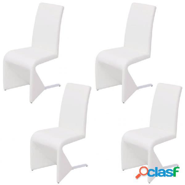 Sillas de comedor voladizas cuero artificial blanco 4 uds vida xl