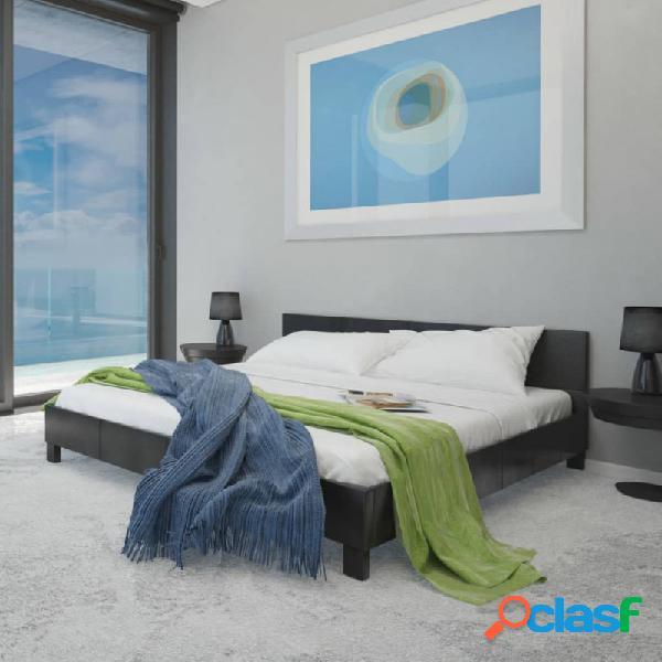 Cama con colchón de cuero sintético negro 140x200cm vida xl
