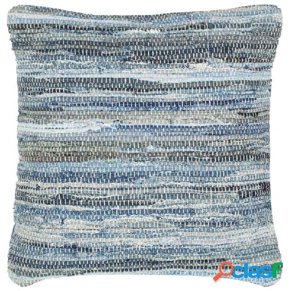 Cojín chindi vaquero algodón azul 60x60cm vida xl