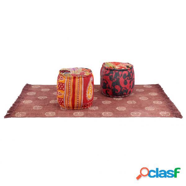 Conjunto de esterilla y puf 3 piezas de tela patchwork vida xl