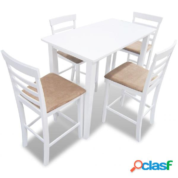 Mesa de bar y 4 taburetes de barra madera blanca vida xl