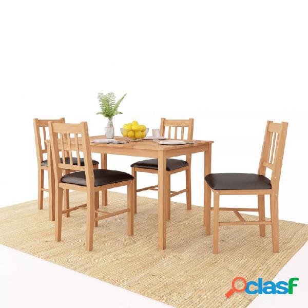 Conjunto de comedor 5 piezas madera maciza de roble vida xl