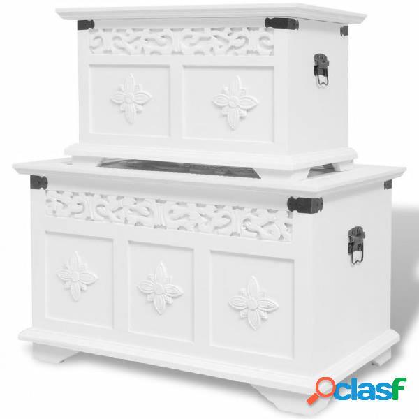 Set de baúles de almacenamiento 2 unidades blanco vida xl