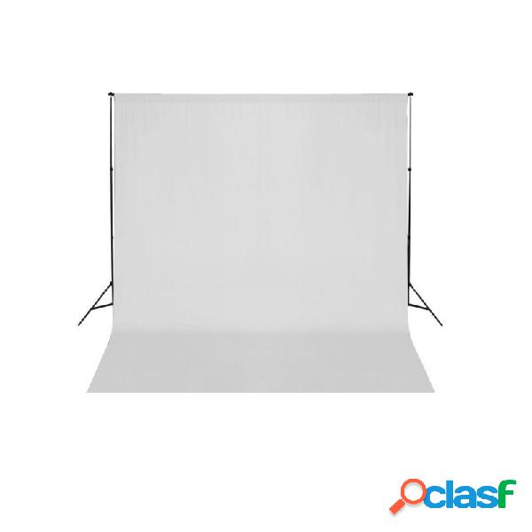 Sistema de soporte de telón fondo fotográfico 600x300 cm blanco vida xl