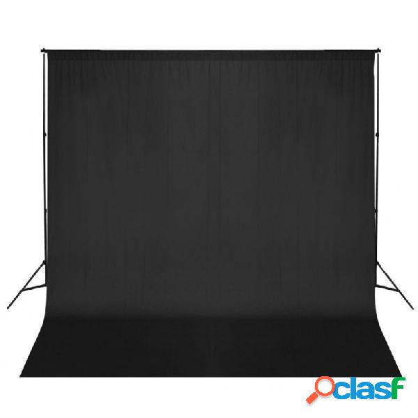 Sistema de soporte de telón fondo fotográfico 600x300 cm negro vida xl