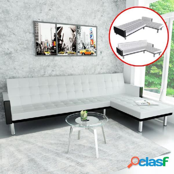 Sofá cama en forma de l cuero sintético blanco vida xl