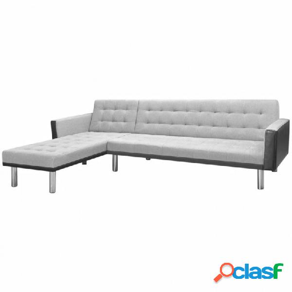 Sofá cama esquinero tela 218x155x69cm negro y gris vida xl